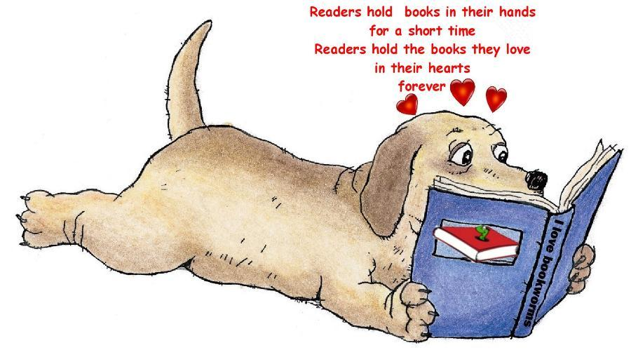 dog reading book with caption,